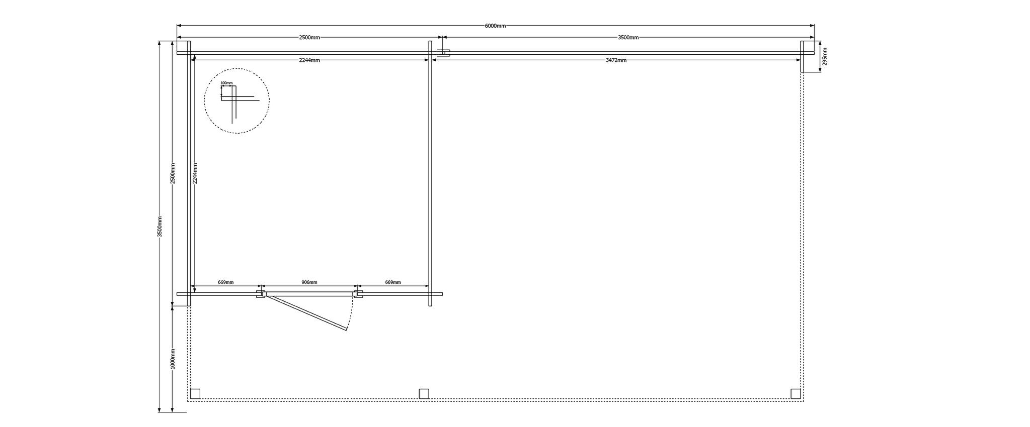 DWF Blokhut met overkapping plat dak 250 x 250 + 350 x 350cm