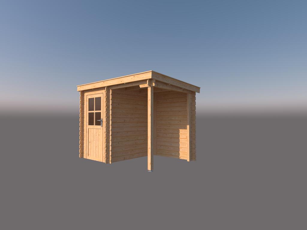 DWF Blokhut met overkapping lessenaar dak 150 x 200 + 150cm