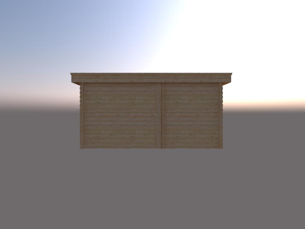 DWF Blokhut met overkapping plat dak 200 x 200 + 250cm