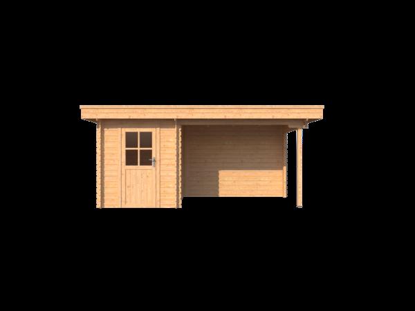 DWF Blokhut met overkapping plat dak 200 x 200 + 300cm