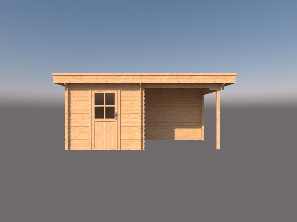 DWF Blokhut met overkapping plat dak 250 x 250 + 250cm