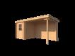 DWF Blokhut met overkapping lessenaar dak 200 x 200 + 300cm