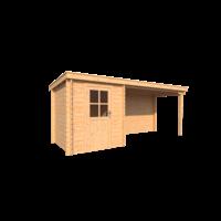 DWF Blokhut met overkapping lessenaar dak 200 x 200 + 350cm
