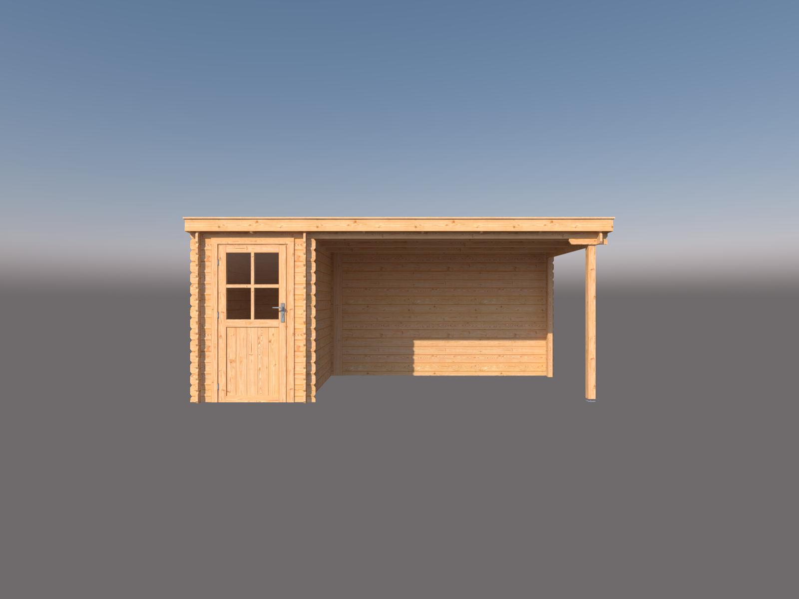 DWF Blokhut met overkapping lessenaar dak 150 x 250 + 350cm