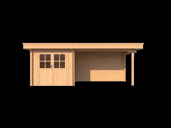 DWF Blokhut met overkapping plat dak 250 x 200 + 350cm