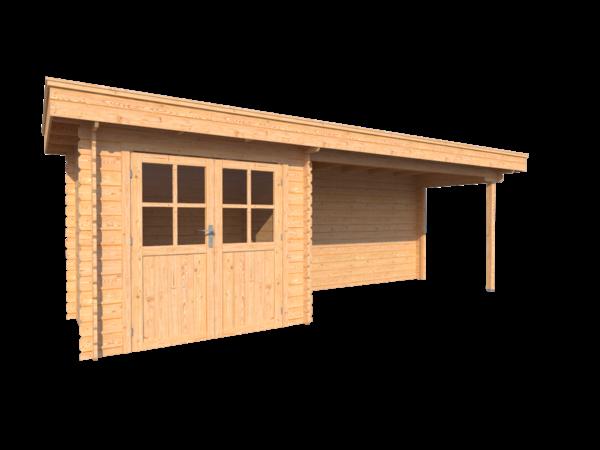 DWF Blokhut met overkapping plat dak 250 x 200 + 400cm