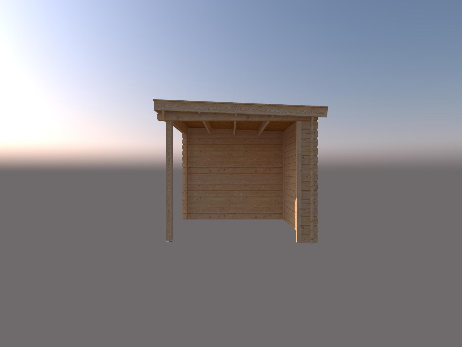 DWF Blokhut met overkapping lessenaar dak 200 x 250 + 250cm