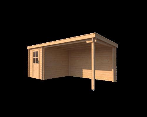 DWF Blokhut met overkapping lessenaar dak 200 x 250 + 350cm