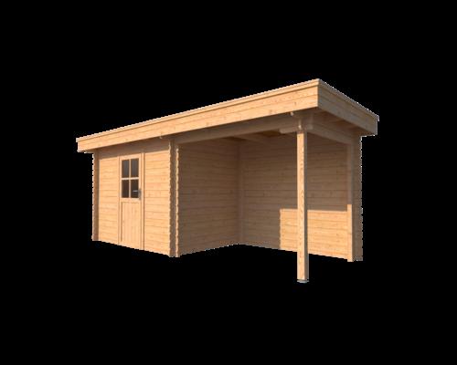 DWF Blokhut met overkapping plat dak 300 x 200 + 250cm