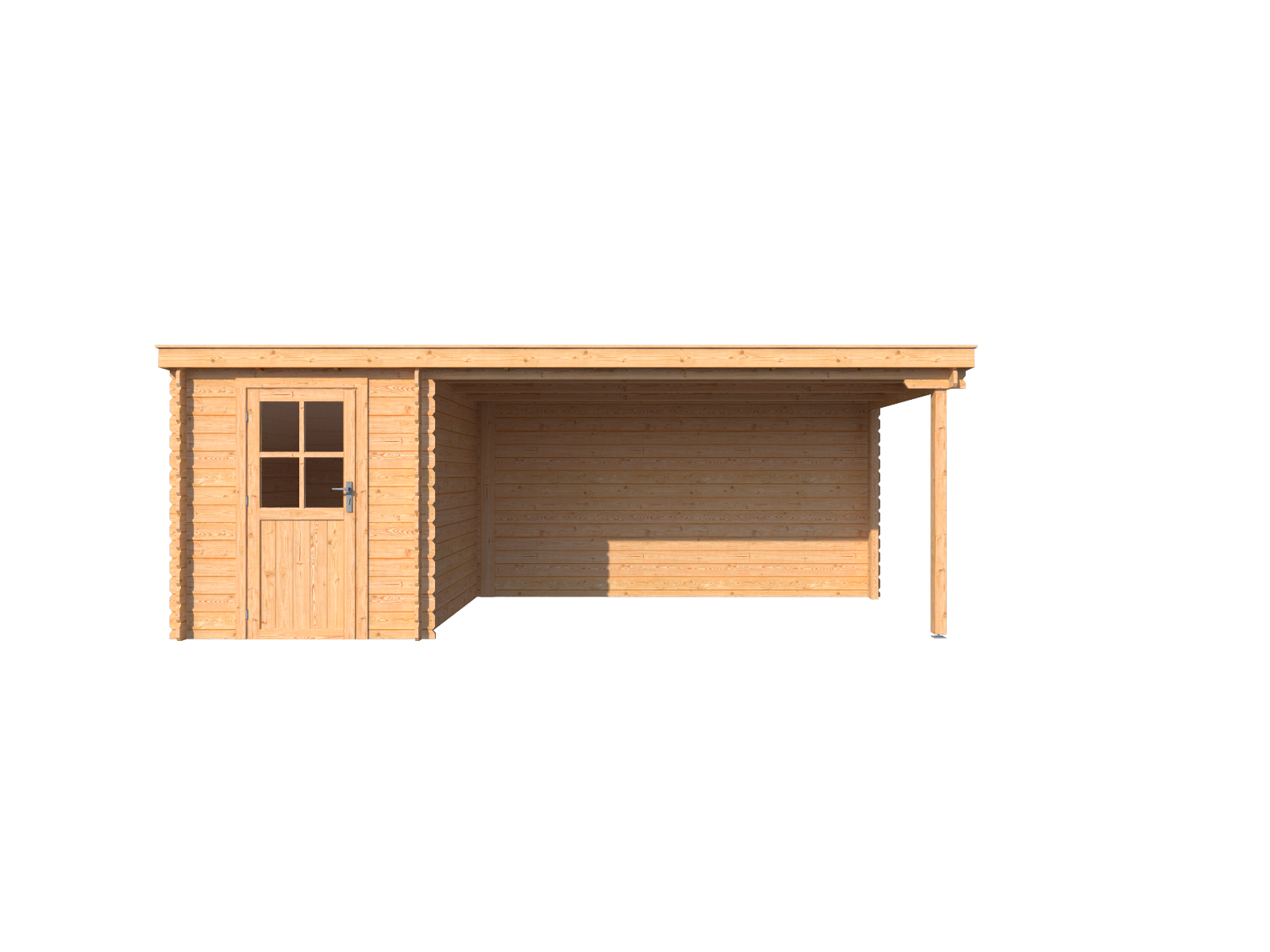 DWF Blokhut met overkapping lessenaar dak 200 x 250 + 400cm