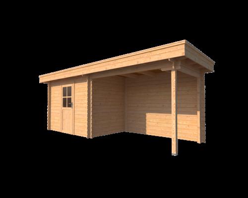 DWF Blokhut met overkapping plat dak 300 x 200 + 300cm