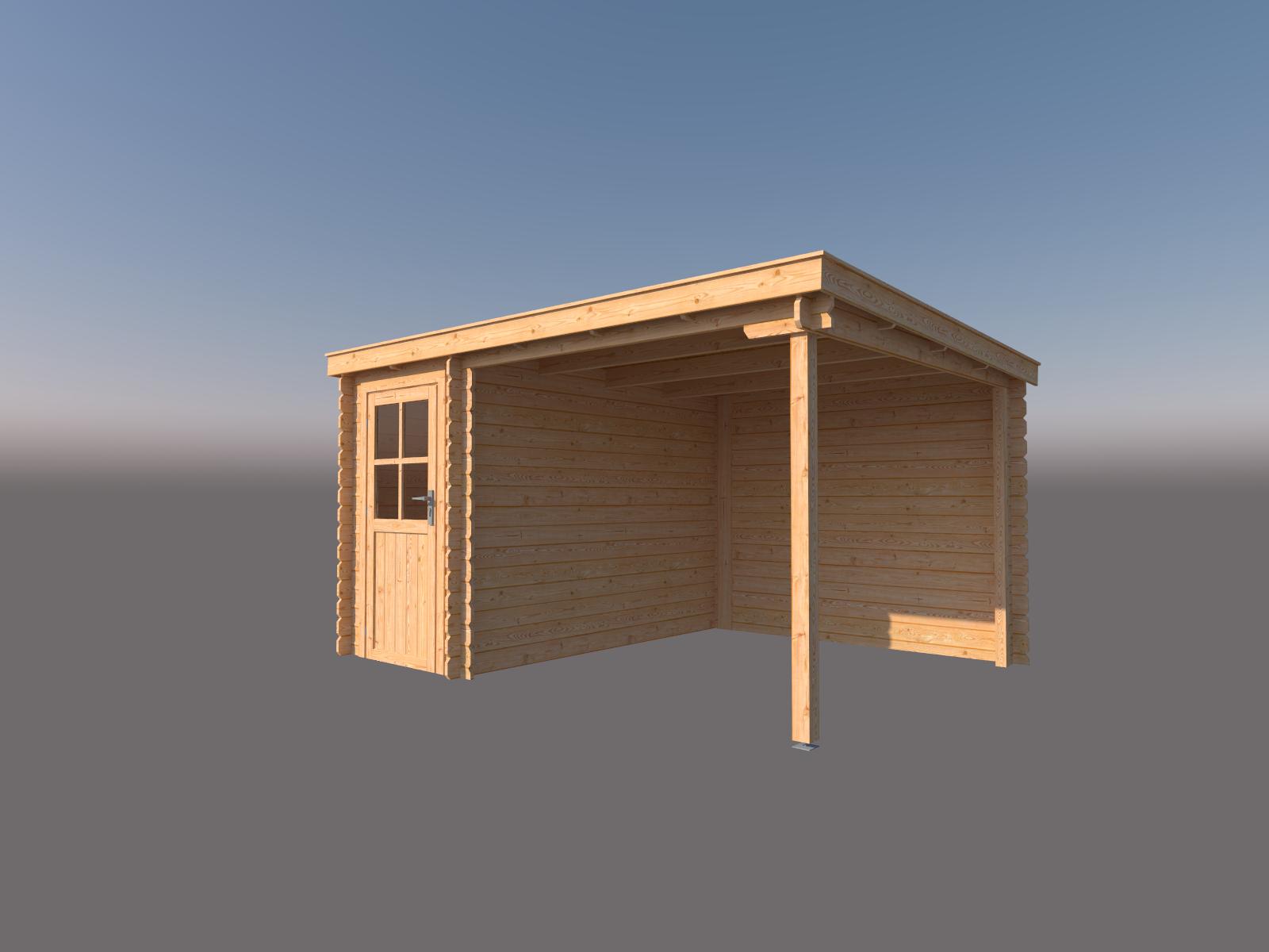 DWF Blokhut met overkapping lessenaar dak 150 x 300 + 250cm