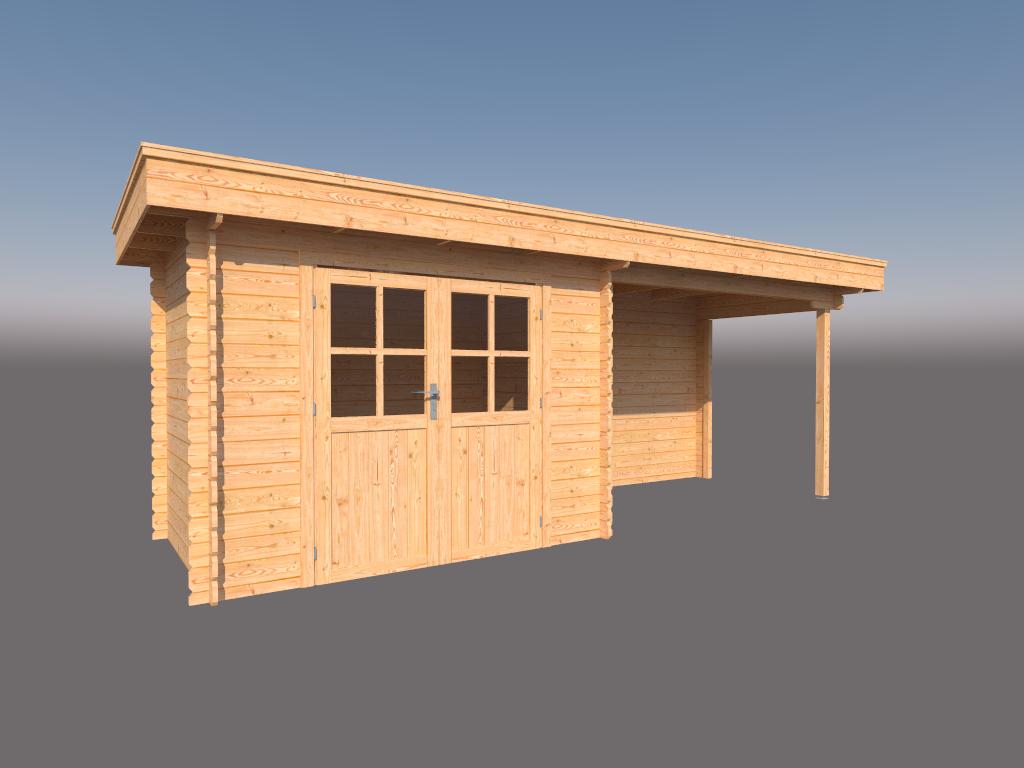 DWF Blokhut met overkapping plat dak 300 x 200 +300cm