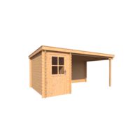 DWF Blokhut met overkapping lessenaar dak 150 x 300 + 350cm - Copy
