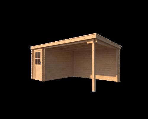 DWF Blokhut met overkapping lessenaar dak 150 x 300 + 350cm