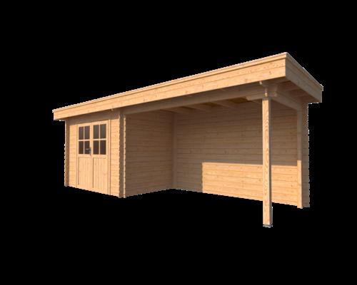 DWF Blokhut met overkapping plat dak 300 x 200 + 350cm