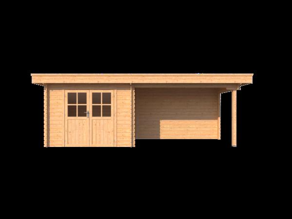 DWF Blokhut met overkapping plat dak 300 x 200 +350cm