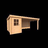 DWF Blokhut met overkapping lessenaar dak 150 x 300 + 400cm