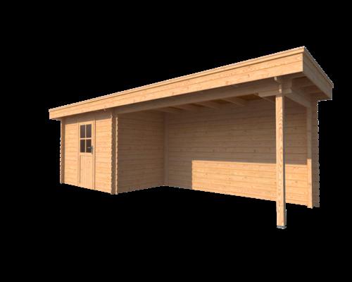 DWF Blokhut met overkapping plat dak 300 x 200 + 400cm