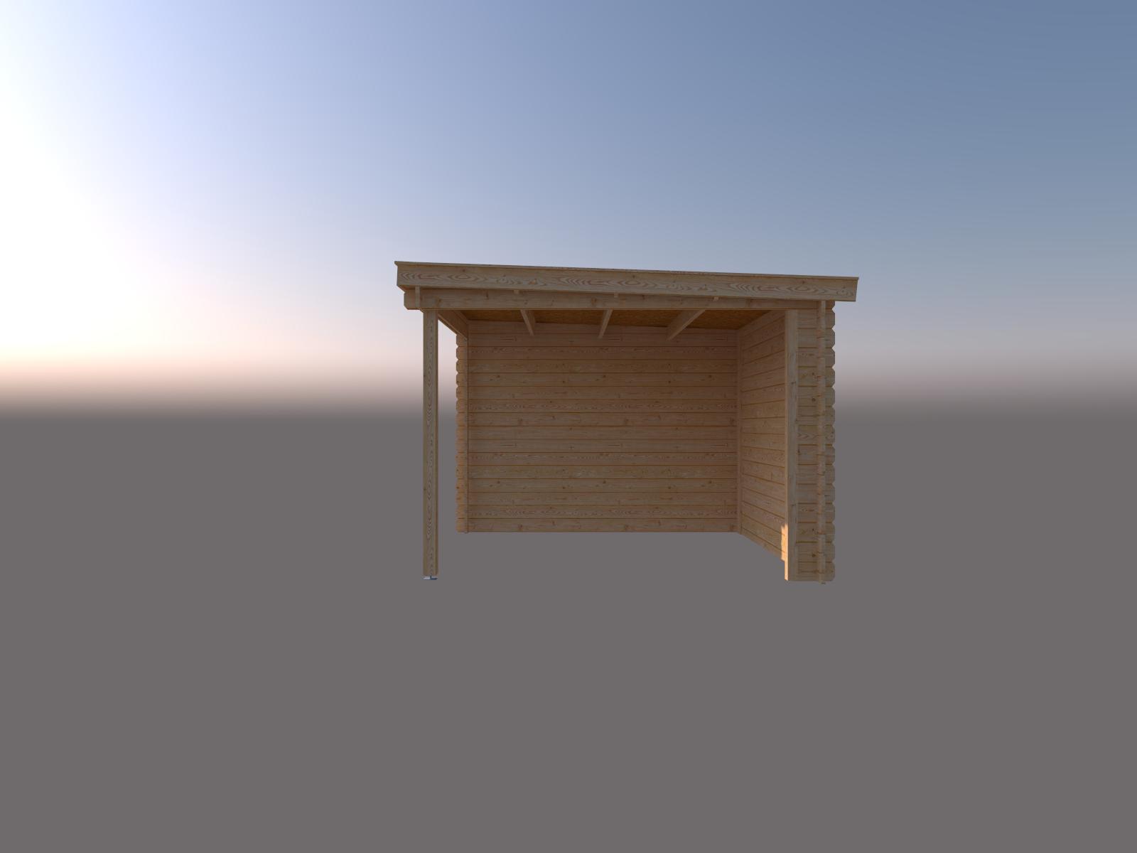 DWF Blokhut met overkapping lessenaar dak 200 x 300 + 250cm
