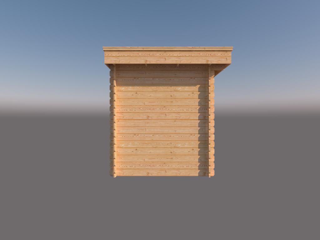 DWF Blokhut met overkapping plat dak 300 x 200 +400cm