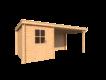 DWF Blokhut met overkapping lessenaar dak 200 x 300 + 350cm
