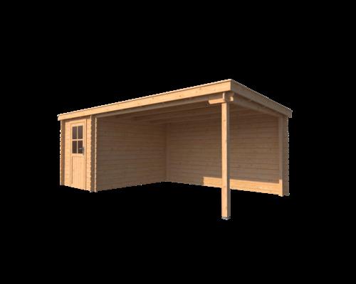 DWF Blokhut met overkapping lessenaar dak 200 x 300 + 400cm