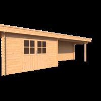 DWF Blokhut met overkapping plat dak 350 x 200 +400cm