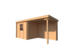 DWF Blokhut met overkapping lessenaar dak 250 x 200 + 250cm