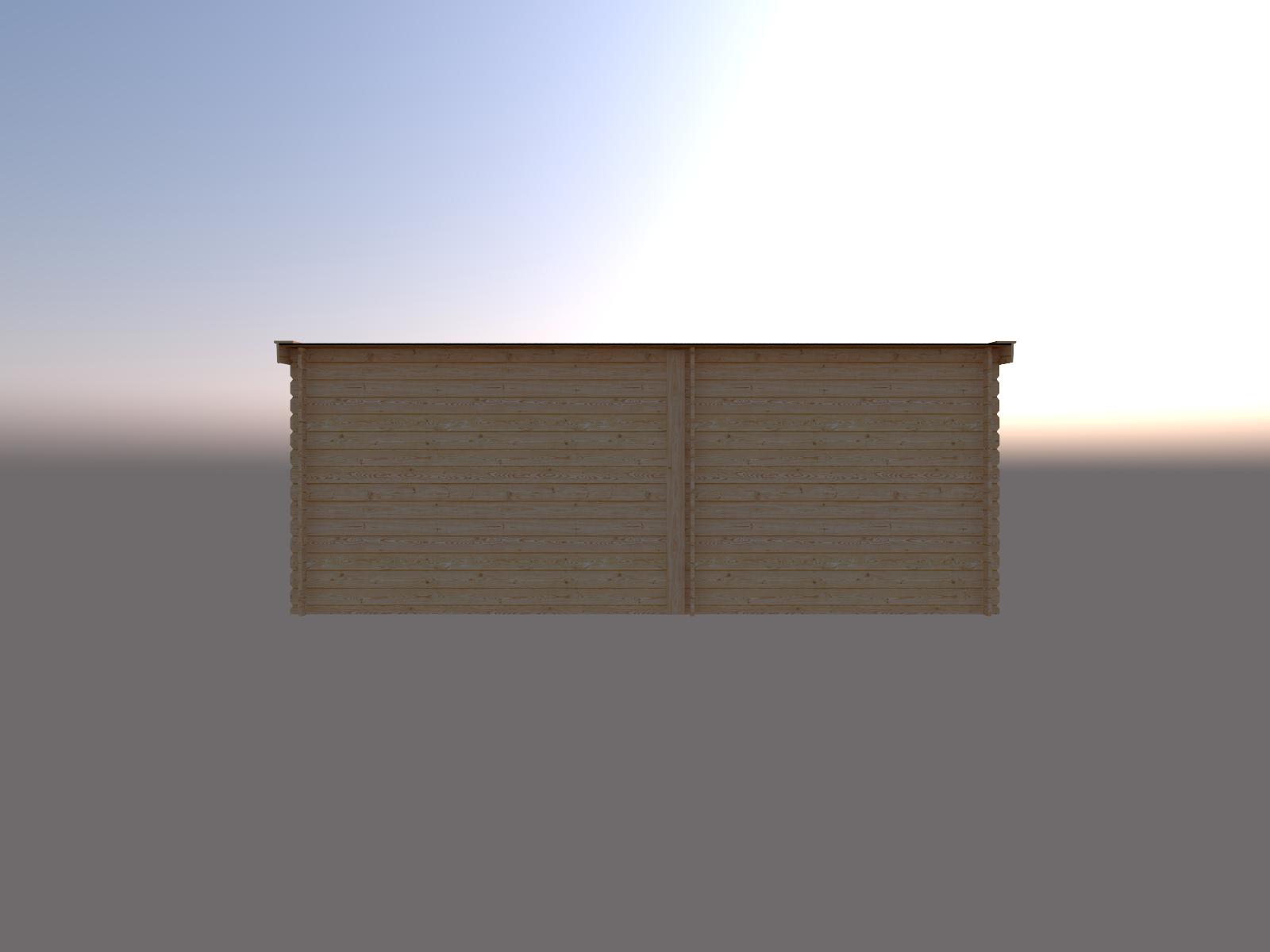 DWF Blokhut met overkapping lessenaar dak 250 x 200 + 300cm