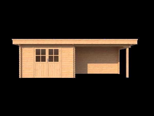 DWF Blokhut met overkapping plat dak 350 x 200 +350cm