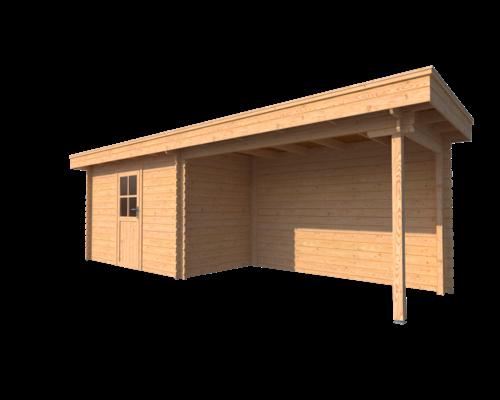 DWF Blokhut met overkapping plat dak 350 x 200 + 350cm