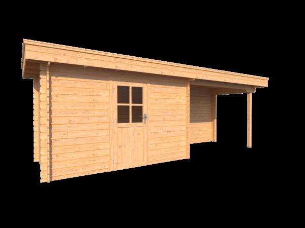 DWF Blokhut met overkapping plat dak 350 x 200 +300cm
