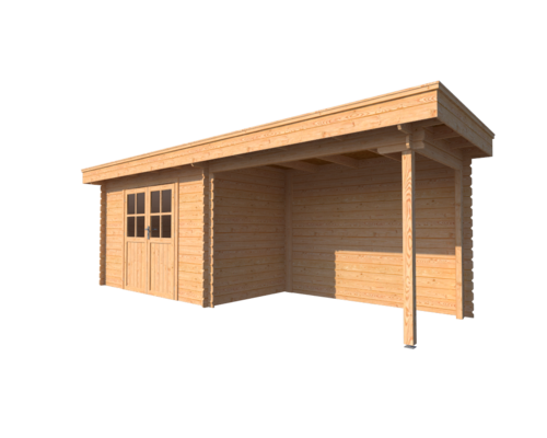 DWF Blokhut met overkapping plat dak 350 x 200 + 300cm
