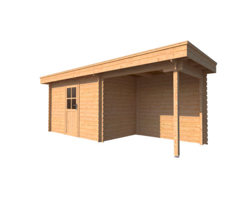 DWF Blokhut met overkapping plat dak 350 x 200 + 250cm
