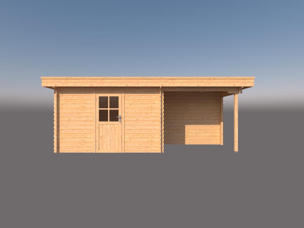 DWF Blokhut met overkapping plat dak 350 x 200 +250cm