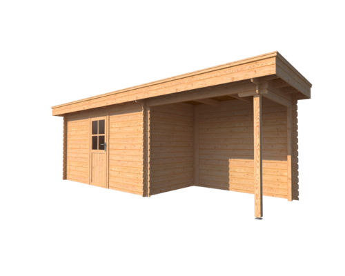 DWF Blokhut met overkapping plat dak 400 x 200 + 250cm