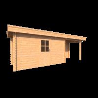 DWF Blokhut met overkapping plat dak 400 x 200 +250cm