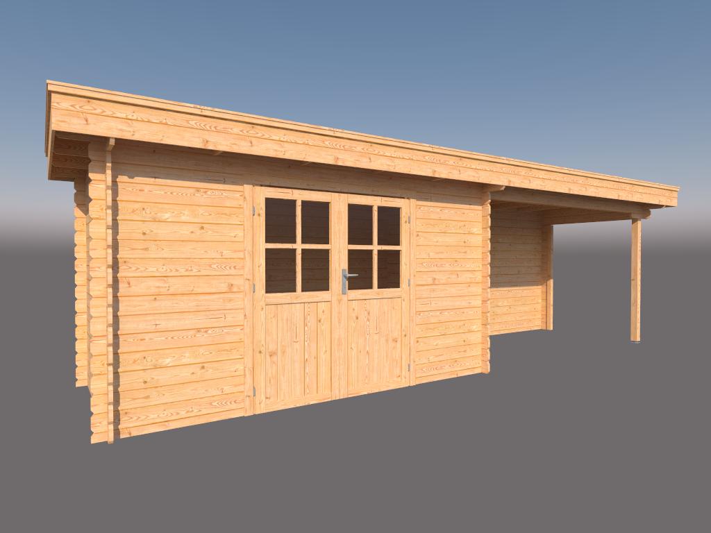DWF Blokhut met overkapping plat dak 400 x 200 + 350cm