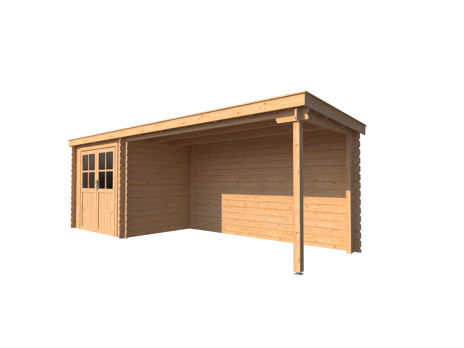 DWF Blokhut met overkapping lessenaar dak 250 x 200 + 400cm