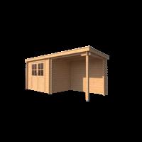 DWF Blokhut met overkapping lessenaar dak 300 x 200 + 250cm