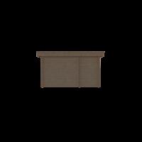 DWF Blokhut met overkapping plat dak 150 x 200 + 250cm