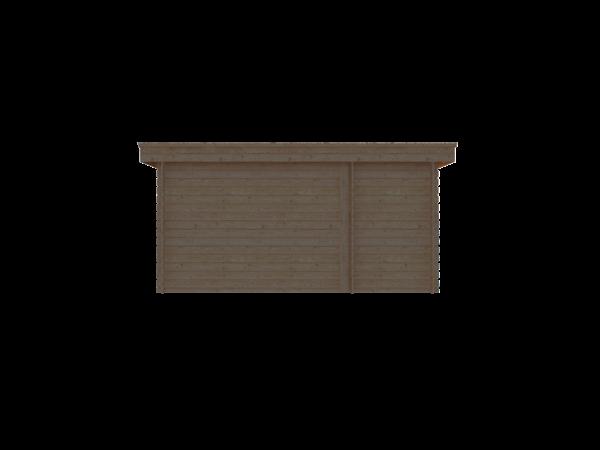 DWF Blokhut met overkapping plat dak 150 x 200 + 300cm