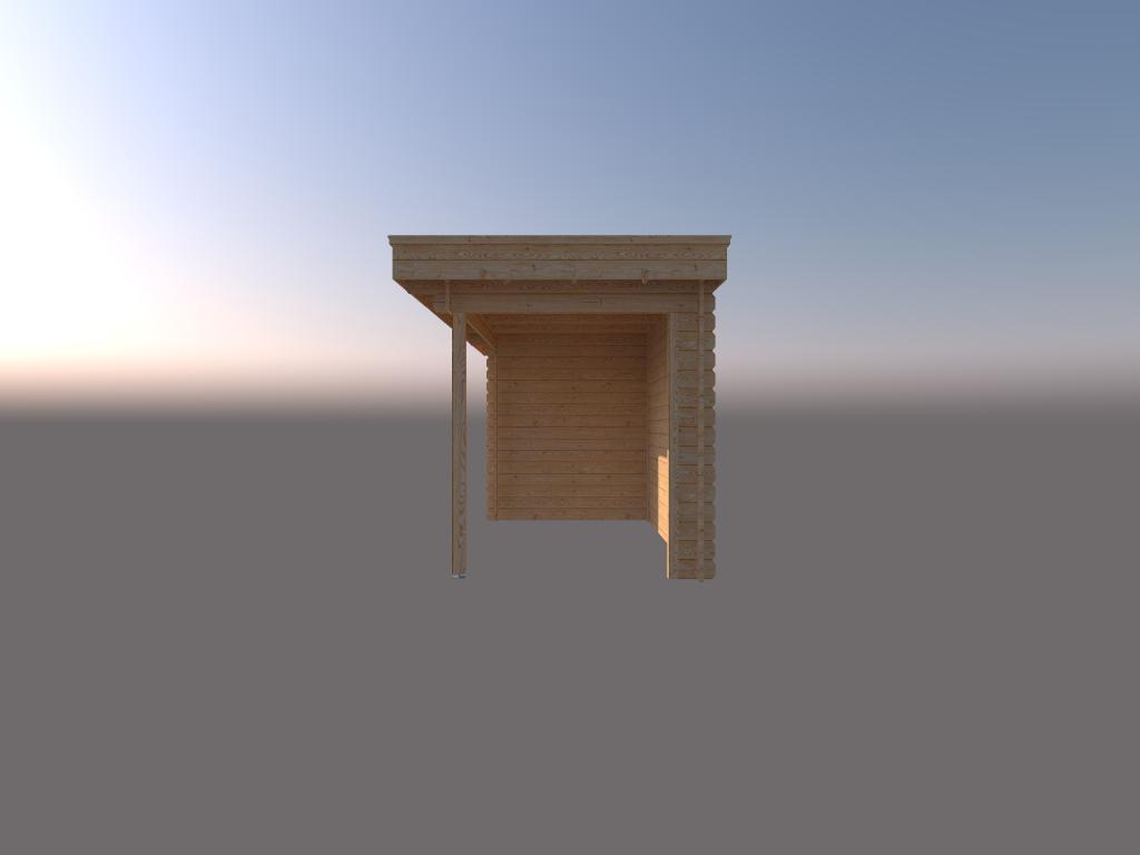 DWF Blokhut met overkapping plat dak 150 x 200 + 350cm