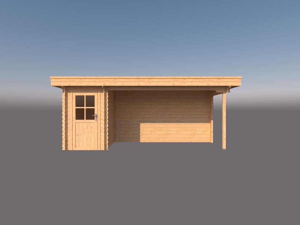 DWF Blokhut met overkapping plat dak 150 x 200 + 400cm