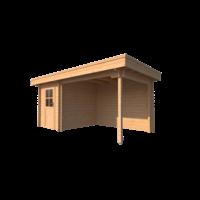 DWF Blokhut met overkapping plat dak 200 x 250 + 300cm