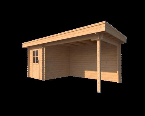 DWF Blokhut met overkapping plat dak 200 x 250 + 350cm
