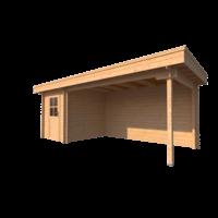 DWF Blokhut met overkapping plat dak 200 x 250 + 400cm