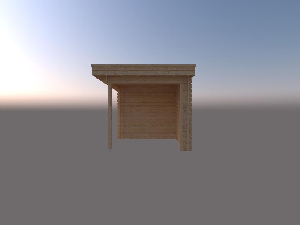 DWF Blokhut met overkapping plat dak 200 x 250 + 250cm