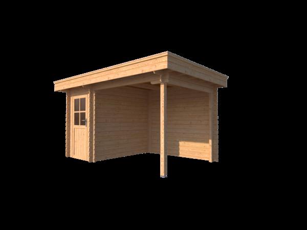 DWF Blokhut met overkapping plat dak 150 x 250 + 250cm